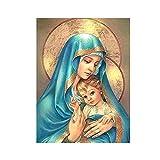 IFUNEW Cuadros Decorativos Imágenes de Cristo del Retrato de la Virgen María Dorada y del bebé Jesús para la decoración del hogar de la Sala de Estar 60x90cm