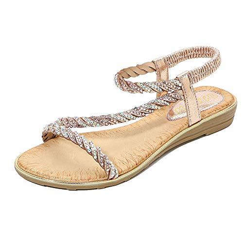 DUORO Damen Strass Sandalen rutschfeste Strand Elastischen Gemütlich Pantoletten Zehentrenner Sommerschuhe (Champagner, Numeric_38)