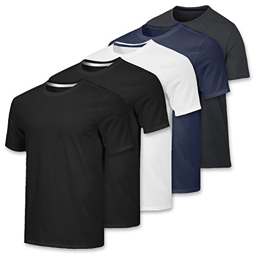 Men's Quick Dry Fit Dri-Fit Short Sleeve Active Wear Training Athletic Essentials Crew T-Shirt Fitness Gym Workout Casual Undershirt Top - 5 Pack,Set 4-M