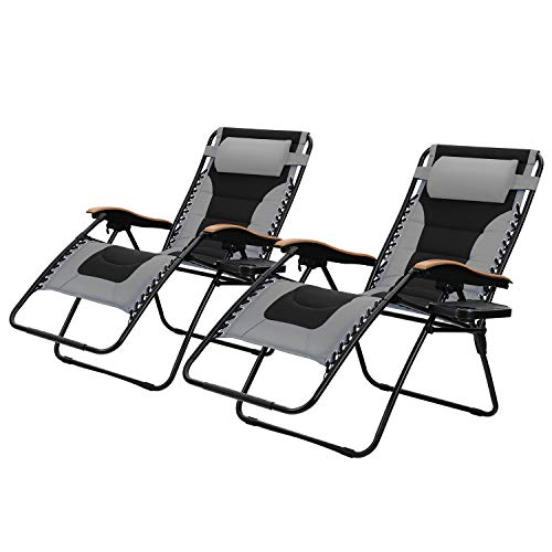 PHI VILLA Oversize XL Padded Zero Gravity Lounge Chairs Adjustable Recliner with Cup Holders Support 350lbs, 2 Pack (Grey)