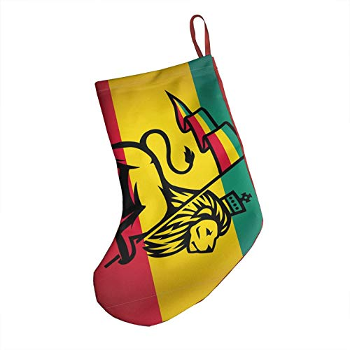 Lion with A Rastafari Flag Christmas Stockings, 18' Big Xmas Stockings, Polyester Classic Plush Mercerized Velvet Stockings Santa Gift for Family Holiday Xmas Party Decorations