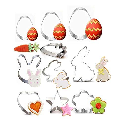 10 cortadores de galletas de Pascua, cortadores de galletas de acero inoxidable para niños y adultos, conejo, gallina, huevo de conejo, forma de cabeza de conejo, decoración de fiesta de Pascua