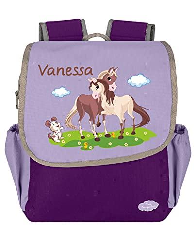 Mein Zwergenland Kindergartenrucksack Happy Knirps NEXT mit Name Pferde, 6L, Lila