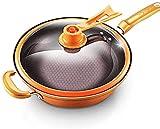 Wok Antiadherente Skillet Pan doméstico antiadherente con recubrimiento antiadherente de 3 capas Tortilla de tortilla de cobre con asa desmontable