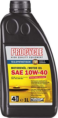 Procycle - Aceite de motor para moto 10W-40, 1 litro parcialmente semisintético, 4T