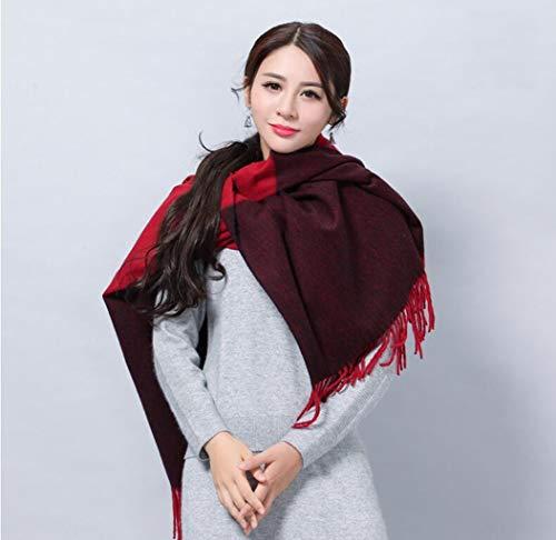 LYQZ Bufanda de Lana Doble Uso Larga y Gruesa Bufanda de Cachemira de Invierno Moda Coreana Salvaje Chal (Color : D)
