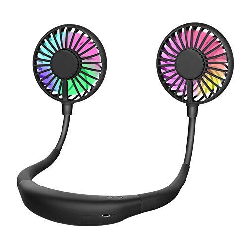 MoKo Ventilador USB Portátil, Mini Cuello Ventilador de Mano-Libre con 2000mAh Batería Rechargeable, LED Luz de 2 Modos, 3 Velocidades y Cabeza Ajustable para Oficina, Deportes al Aire Libre - Negro