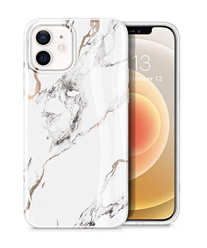 """GVIEWIN Kompatibel mit iPhone 12 Hülle/iPhone 12 Pro Hülle 6,1""""2020 5G, Marmor Ultra dünn glänzend weich Silikon TPU Stoßfest Handyhülle Cover Schutzhülle, Weiß/Golden"""