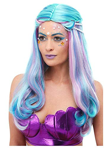 shoperama Multicolor Pastell Langhaar Perücke Türkis mit Strähnen Wellen Meerjungfrau Damen Festival Wassernixe Sirene