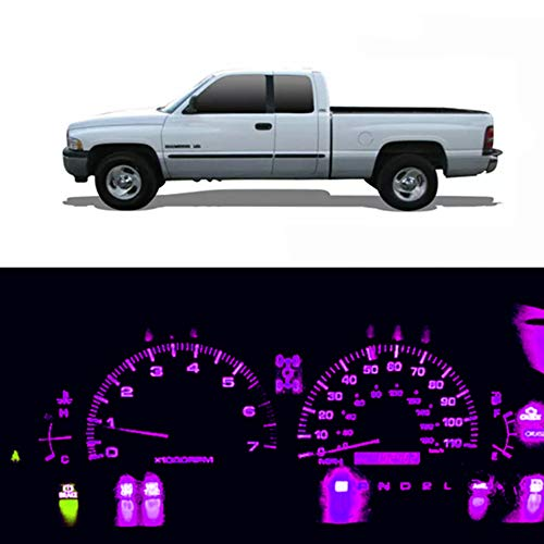 WLJH Pink Purple Instrument Panel Gauge Cluster Dash Light Bulbs Full Led Package Kit for Dodge Ram 1500 2500 3500 1994-2001, Pack of 20