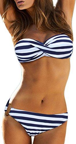 PANOZON Damen Seitlich Gebunden Bikini-Sets Abnehmbar Trägerlosen Bademode Push-up Bikinioberteil mit Nackenträger (blau und Weiss, L)