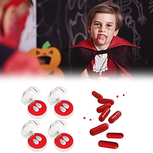 Settlede Vampire Denture Set, Halloween Party Cosplay Costume Prop Decoration Vampire Dentures Fangs Tooth Horror False Teeth with Case, 4 Boxes (Giving Plastic Blood Capsules Randomly)
