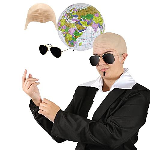 Juego de accesorios de lujo para adultos MR Worldwide  Gorro de calvo + gafas de sol de aviador + globo inflable + souLPATCH negro  Disfraz para hombre