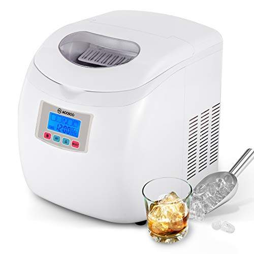MOOSOO Ice Maker Countertop with Automatic Self-Cleaning, Super Capacity Ice Machine with 2 Scoops, 9 Bullet Ice Cubes Ready in 7-9 Minutes, Portable Ice Maker Machine with ETL Certificate