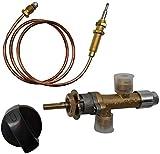 Kit de válvula de control de seguridad para chimenea de gas propano de baja presión con válvula de propano de baja presión con entrada y salida de 9,5 mm, apto para parrilla de gas,