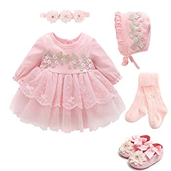 Baby Girls Princess Dress 1st Birthday Dress Outfit Wedding Christmas Party Dress hat Headband Tights Shoes Set  Pink  5 pcs Set ,12-18 Months