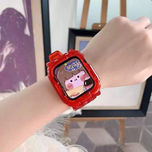 Hspcam Correa transparente + funda para Apple Watch Series 6 SE 5 4 44 mm 42 mm transparente para correa de reloj 3 2 1 38 mm 40 mm correa de plástico (42 mm o 44 mm), color rojo