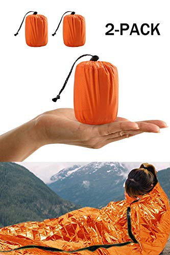 Survival Sleeping Bag, Emergency Bivvy Bag Emergency Rescue Blanket Reusable for Outdoor Camping, Hiking - 2 pack