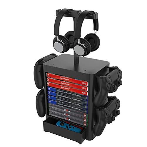 Soporte multifunción para torre de almacenamiento de juegos, soporte vertical para 10 CD, soporte para discos de juegos y 4 soportes para auriculares compatibles con PS5 PS4 XboxOne Nintendo Switch