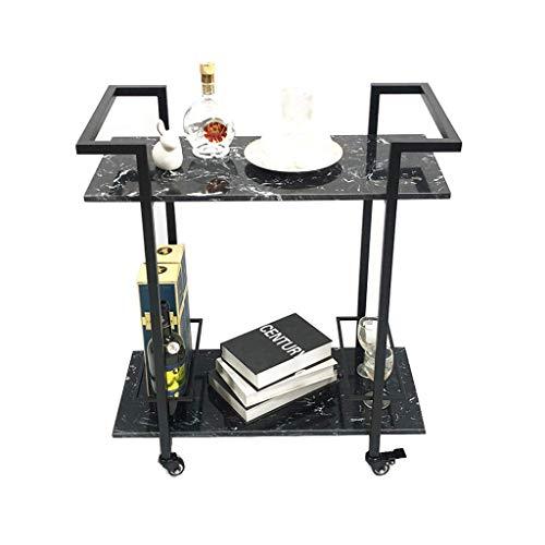 N/Z Muebles para el hogar Carro de Servicio de Hierro de 2 Niveles Hogar Hotel Restaurante Estante de Vino Carro de Almacenamiento Multifuncional (Negro 35 * 80 * 70 CM)