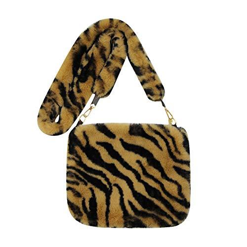 Bandolera de piel sintética para mujer y niña, diseño de leopardo, (marrón (Brown Zebra Print)), Talla única