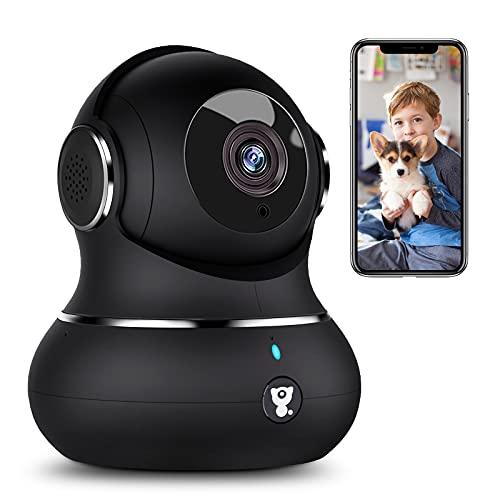 1080P Überwachungskamera, Littlelf WLAN Kamera mit Bewegungserkennung, Nachtsicht, Zwei-Wege-Audio, Haustier Kamera für Baby Hunde, 360 Grad Schwenkbare Babyphone kompatibel mit IOS/Android/Alexa