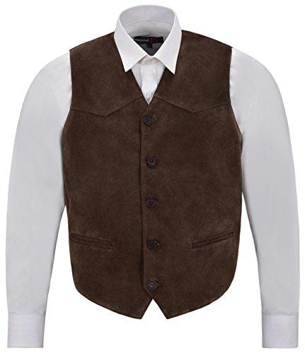 Gilet da uomo in vera pelle scamosciata marrone occidentale Cowboy Festival Party Zara Vest Marrone XXXL