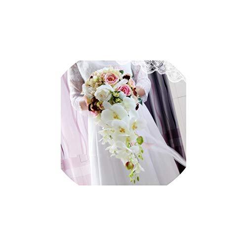 Wasserfall Weiße Blumen-Brautsträuße Artificial Hochzeit Bouquets Rose