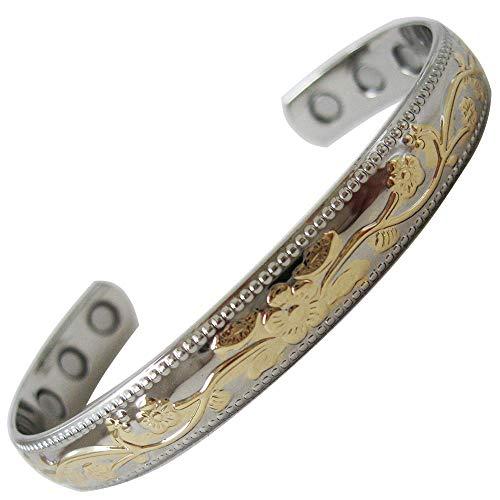 Preisvergleich Produktbild Magnetisches Armband aus Kupfer mit Silber- und Gold-Finish,  beste natürliche Schmerzlinderung Therapie von MnB Magnetic Bracelets