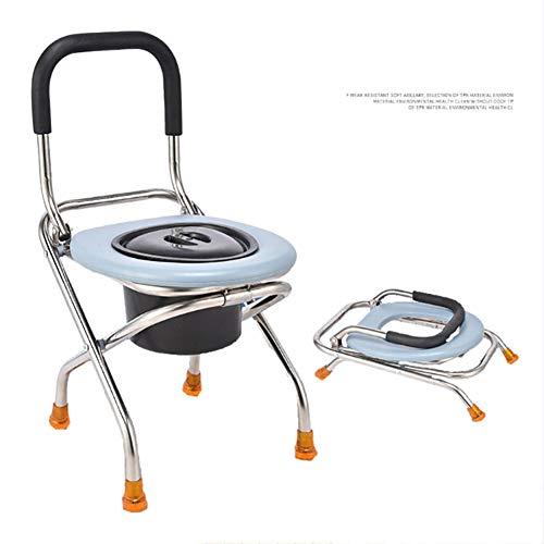 GVFKGD Faltbarer Hygienischer Toilettenstuhl, Nachtstuhl, gepolstertere Sitzfläche, herausnehmbarer Eimer mit Deckel, Toilettenhilfe, für Erwachsene Handicap Senioren