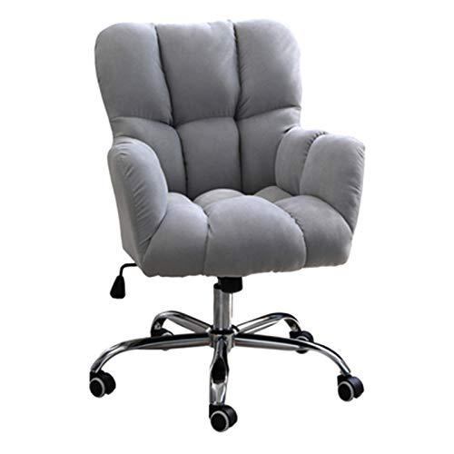 Schreibtischstuh Ergonomischer Home Office Stuhl mit mittlerer Rückenlehne, Modern Design Velvet Desk Task Chair mit Armen, Mädchen Cute Bedroom Leisure Pink Computer Chair