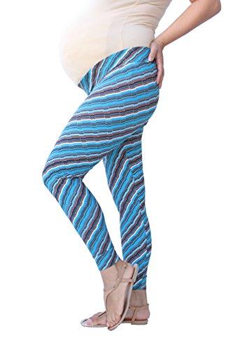 Jambières de maternité en imprimé diagonal, sous jambières de maternité du ventre, bleu marine, vêtements de maternité, opaques, maternité, jambières de yoga (XXL)
