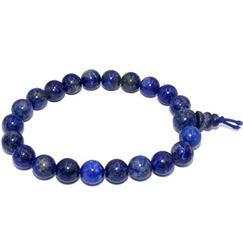 Pulsera de lapislázuli natural piedras redondas de 8 mm para hombres y mujeres - elástico resistente - mala budista tibetano