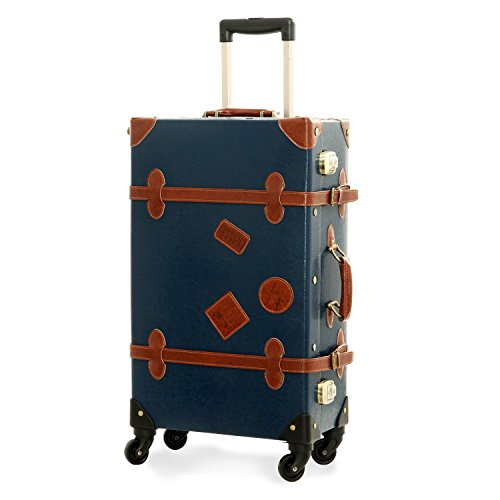 UNITRAVEL Maleta Vintage Viaje 58 Centímetros 36 litros con 4 Ruedas Azul con Candado TSA