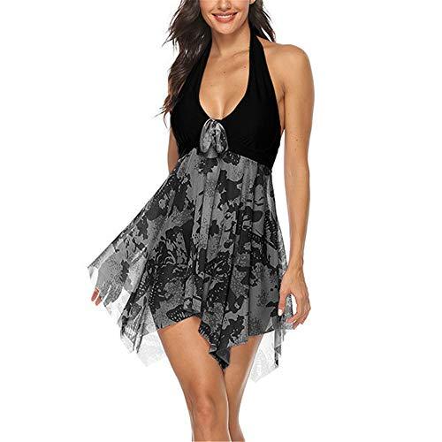 Costume da Bagno Push Up Scollo all'Americana Donna Costume Intero Modellante Gonna Abito Spiaggia Orlo Asimmetrico Costumi da Bagno Sexy Rete Bowknot Scollo A V Luna di Miele Hawaii Beachwear 5XL