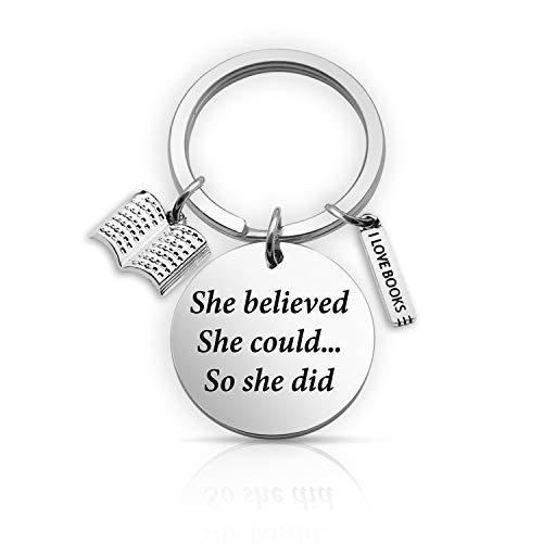 EIGSO - Lector de llaveros con texto en inglés She Believed She Pod, regalo de gusano de libro, regalo bibliotecario (She Believe Book KR)