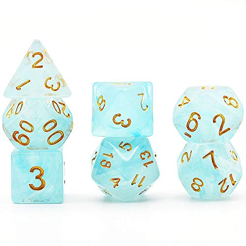 Polyhedral Dice Set Translucent Clouds DND Dice for Dungeons and Dragons with Purple Dice Pouch (Blue)