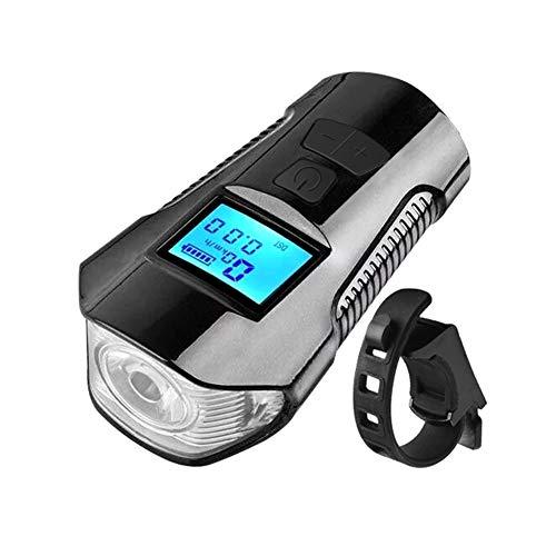 Ordenador de bicicleta recargable USB con faro delantero, LED Cuentakilómetros de ciclismo...