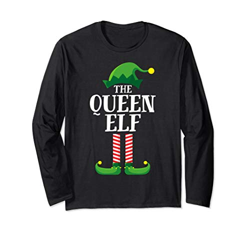 Queen Elf Matching Family Group Christmas Party Pajama Long Sleeve T-Shirt