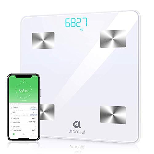 Báscula Grasa Corporal - arboleaf Báscula de Baño Digital Máximo 180 kg, Báscula Bluetooth Inteligente con App para iOS y Andriod, Monitor de Composición Corporal, Profesional Analiza 10 Datos