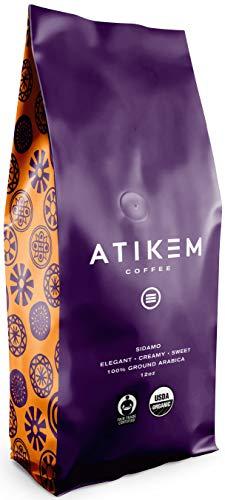 ATIKEM Organic Ethiopian Sidamo Coffee Ground, Creamy Medium Roast, Premium Arabica Coffee, Organic Fairtrade Coffee - Ground 12 ounce (1 Pack)