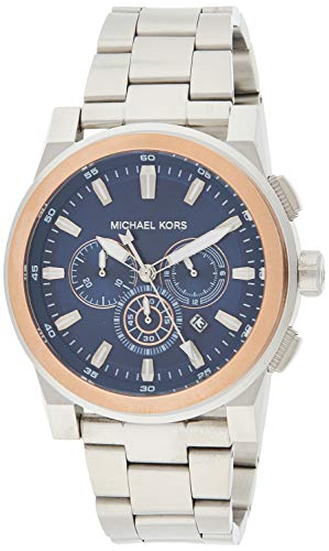 Michael Kors Men's Grayson Stainless Steel Analog-Quartz Watch with Stainless-Steel Strap, Silver, 24 (Model: MK8598)
