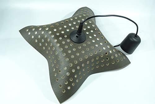 Design-Hängelampe aus Reishülsenhybrid (Grau lasiert) (gelocht)