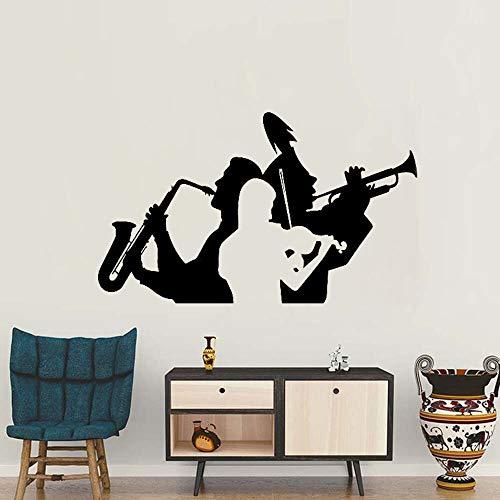 DLYD Musiker Saxophon Trompete Violine Wandtattoo Aufkleber Wohnzimmer Dekoration Musik Band Wandbehang Tattoo abnehmbare Halle Wandbild 126x75cm