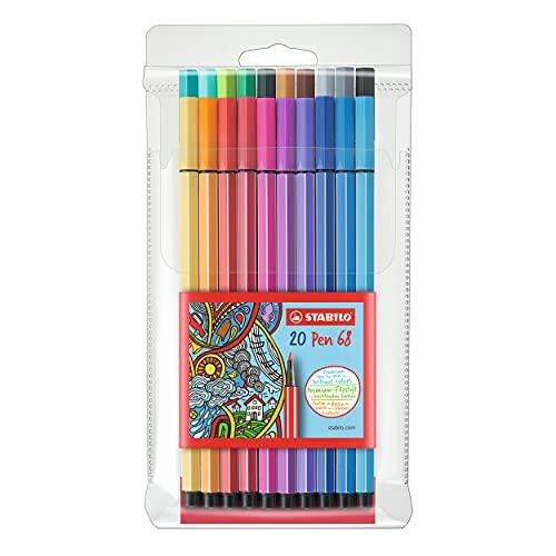 Rotulador STABILO Pen 68 - Estuche con 20 colores
