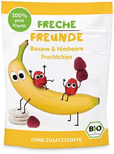 """Freche Freunde Bio Fruchtchips """"100% Banane & Himbeere"""", gefriergetrocknet, ohne Zuckerzusatz, vegan, laktosefrei, glutenfrei, für Babys ab 1 Jahr, 12er Pack (12 x 16 g)"""