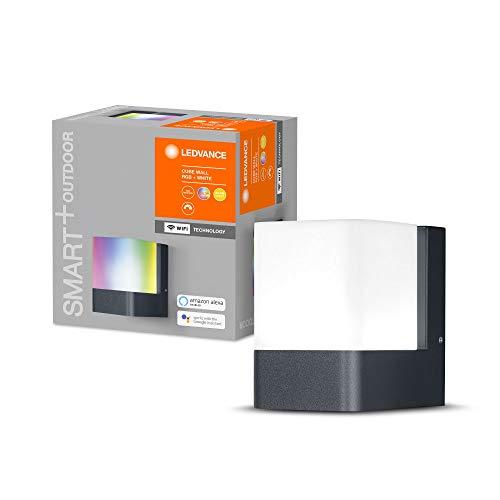 LEDVANCE Smarte LED Aussenleuchte für die Wand mit WiFi Technologie für Außen, RGB-Farben änderbar, aus dunkelgrauem Aluminium, Kompatibel mit Google und Alexa Voice Control, SMART+ WIFI CUBE WALL
