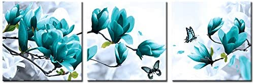 Welmeco Teal Flowers Canvas Wall Art Magnolia Floral Painting Picture Prints for Modern Home product image