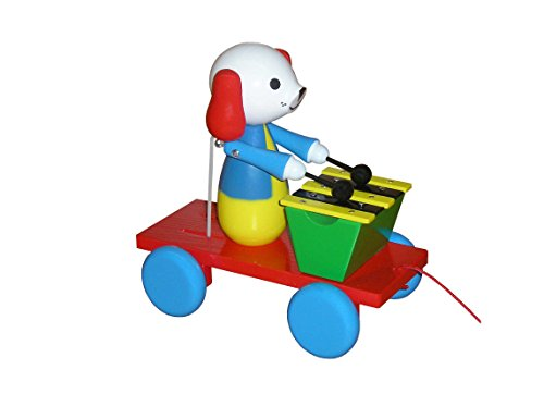 ABA Pull-Along Dog Musician Cart with xylophone (Coloured)