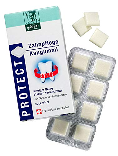 BADERs dalla farmacia. PROTECT cura dentale chewing. Meno placca, denti più bianchi. Senza zucchero con 100% xilitolo. 16 quadrati di gomma da masticare